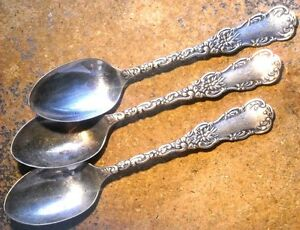 Three Antique Wm Rogers Sterling Teaspoons Matching With Monogram