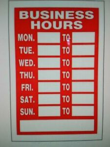 Hillman 839992 Business Hours Sign With Space For Fill In Red And White Plastic