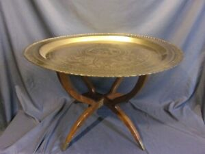 Antique Boho Fold Away Brass Tray Spider Leg Table 40 Dia 19 Height Moroccan