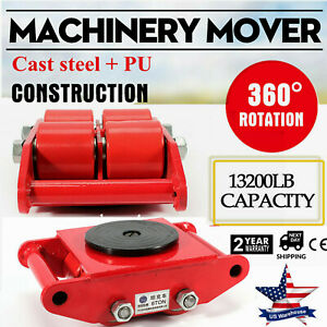 Machinery Mover Dolly Skate Roller Move 360 Rotation 6t 13200lb Heavy Duty Red