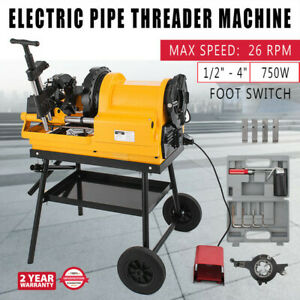 Pipe Threading Machine Foot Switch 1 2 4 750w 110v Self oiling Allen Wrenches