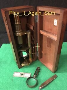 Antique English Brass Microscope With Mahogany Case Vgc Excellent L K