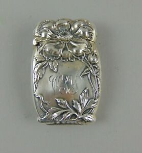Antique Sterling Silver Vesta Case Match Safe Art Nouveau Floral Repousse