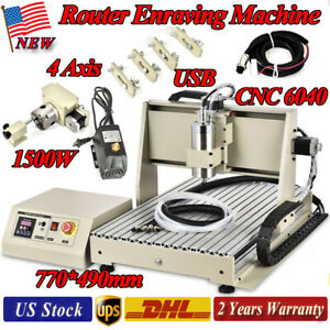 1500w 4axis Cnc6040 Usb Router Engraver Machine Mill Metal Woodworking 3d Carver