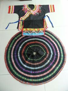 Exotic Tribal Chinese Minority People S Hand Embroidery Costume Skirt Apron Set
