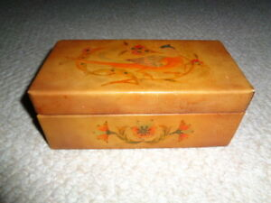 Hand Made Rectangle Leather Covered Jewelry Box Hand Painted Bird Pheasant Flowe