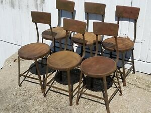 Set Of 6 Vintage Industrial Hallowell Steel Co Chairs Stool Antique Metal