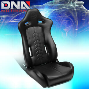 Nrg Innovations Rsc 810bk Left Side Arrow Pvc All Reclinable Racing Bucket Seat