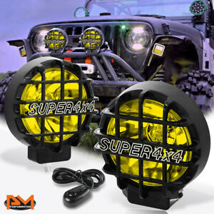 Universal 6 Amber Lens Fog Light offroad Super 4x4 Black Guard Work Lamp switch