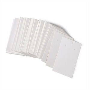 100 Pcs Rectangle White Earring Displays Paper Cards With Three Holes 90x50mm