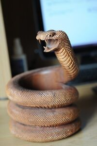 Fine Wood Brushpot Formed As A Rearing Snake Japanese