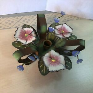 Vtg Tole Metal Painted Candle Holder Shabby Cottage