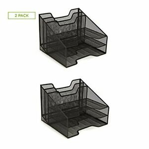 Mind Reader Mesh Desk Organizer 5 Trays Desktop Document Letter Tray 2 Pack