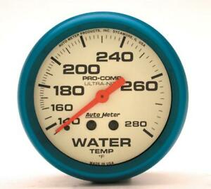 Autometer Ultra nite Mechanical Water Temp Gauge 2 5 8 Dia White Face 4531