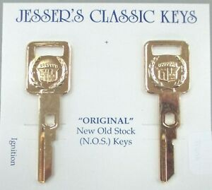 Cadillac Pair Yellow Gold Plated Vats Ignition Keys 1989 1997 Crest