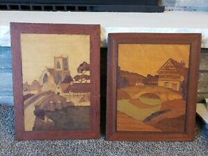 Vintage Wood Inlay Marquetry Wall Hanging Pictures 2