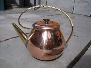 Arts Crafts Copper Brass Tea Kettle Or Teapot With Rattan Handle