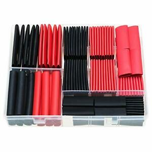 Rockdig 120pcs 3 1 Heat Shrink Tubing Dual Wall Adhesive Lined Tube Black Red
