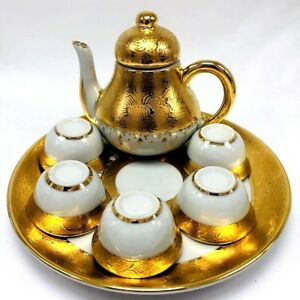 Vintage Thailand Ceramic Ware Teapot Set Royal 1997 Edition Gold Hand Painted