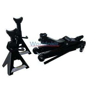 2 5 Ton Hydraulic Floor Jack Set And 2 Jack Stands Auto Car Tool Parts Kit