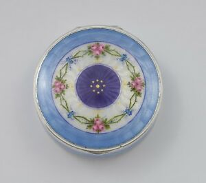 Fine German 935 Silver Guilloche Enamel Box With Painted Flowers C 1920