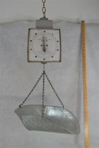 Antique Hanging Scale Bucket Basket Hanson General Store Hardware Produce Tin