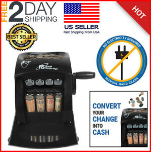 Manual Crank Coin Sorter Eco friendly Compact Portable Counting Cash Machine
