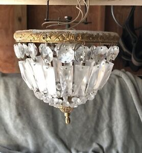Antique Vintage 10 Crystal Basket Flush Mount Chandelier Original
