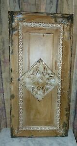 Architectural Salvage Wall Art Vintage Tin Metal Ceiling Tile 1900 S