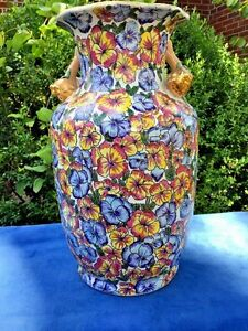 Antique Chinese Large Vase Pansy Floral Cloisonne Gold Pear Handle Rose Famille