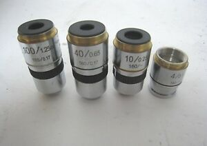 Set Of 4 Unbranded Microscope Objective Lenses 4x 10x 40x 100x Oil Lens