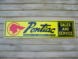 New 1940 s Style Pontiac Sales service Sign ad Chief Logo old Script garage Art