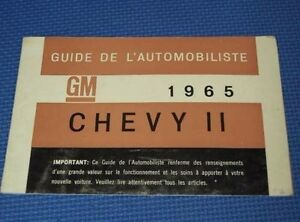 1965 Chevy Ii Nova French Canadian Owners Manual Guide Very Nice