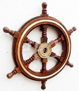 Vintage Style 12 Brass Wood Ship Wheel Helm Nautical Home Decor Boat Steering