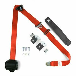 Universal 3 Point Retractable Auto Car Seat Belt Lap Shoulder Adjustable Orange