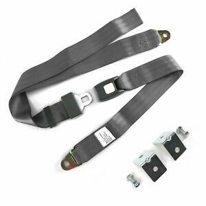 2pt Gray Standard Buckle Lap Seat Belt With Mounting Hardware Streets Rods