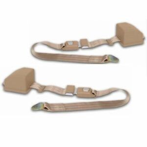 Jeep Seat Belts 2 Pt Retractable Lap Belt 1976 81 Pair Tan Streets Rods