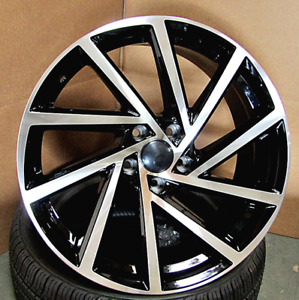 18 18x8 5x112 Black Machine New Wheels Fit Vw Jetta Golf Cc Gti Passat Set 4