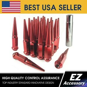 24 Pc Solid Steel Spike Lug Nuts Kit Red 14x1 5 Chevy Gmc Cadillac Pickup