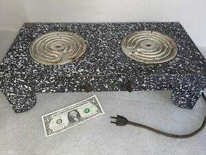 Rare Vintage Graniteware Electric Counter Top 2 Burner Camp Stove Enamel