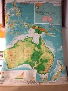 Vintage 1976 Denoyer Geppert Australia Relief Pull Down Cloth School Map