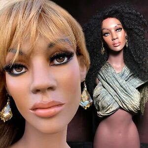 Vintage Mannequin Wig Display Bust African Black Female Realistic Glass Eyes
