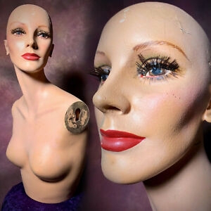 Vintage 50s Mannequin Female Bust Hat Display Distressed Torso Oddity Creepy