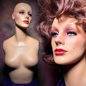 Vintage 50s Mannequin Female Bust Display Torso Oddity Art Creepy Beauty Decor