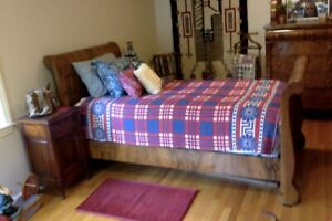 Antique Twin Sleigh Bed Suite Features Two Beds Dresser And Vanity