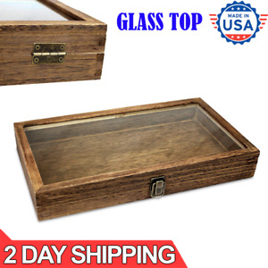 Brown Wood Glass Top Lid Black Pad Display Box Case Medals Awards Jewelry New