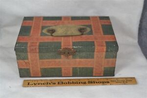 Box Tin Document Advertising Biscuit Doll Steamer Trunk Original 19th Antique