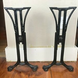 Vtg Cast Iron Table Base Legs Chandler Antique Steampunk Industrial