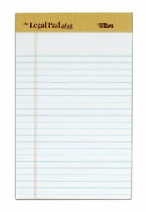 Tops The Legal Pad Plus Jr Legal Rule White Perforated 50 Sh pd 12 Pd pk