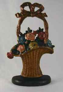 Vintage Cast Iron Doorstop Colorful Flowers Hubley S French Basket Design